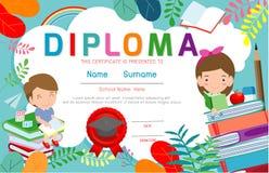 Certificates kindergarten and elementary, Preschool Kids Diploma certificate background design template. Diploma template for kindergarten students vector illustration