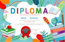 Certificates kindergarten and elementary, Preschool Kids Diploma certificate background design template. Diploma template for kindergarten students stock illustration