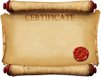 Certificates with wax stamp. Old form certificates with wax stamp Royalty Free Stock Image
