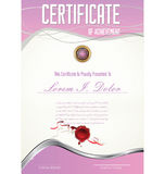 Certificatet template. Certificatet or diploma pink template Royalty Free Stock Photo