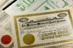 Certificati azionari occidentali antichi di estrazione mineraria Fotografia Stock Libera da Diritti