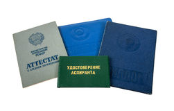 Certificati dello studente di istruzione Fotografia Stock