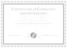 Certification of Completion. This is a certificate of completion that can be used for graduating various courses. Also can be used for stocks, investments etc Royalty Free Stock Photo