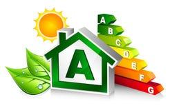 Certification d'énergie avec la maison illustration de vecteur