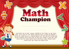 Certification with girl and math theme. Illustration royalty free illustration