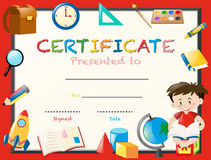 Certification template with boy reading book. Illustration vector illustration