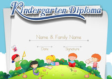Certification template with children in the park. Illustration royalty free illustration
