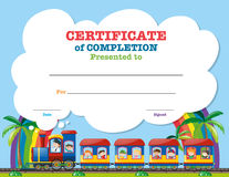 Certification template with children on the train. Illustration royalty free illustration