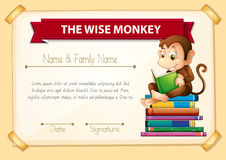 Certification template with monkey reading books Royalty Free Stock Image