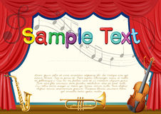 Certification template with musical instrument background. Illustration Royalty Free Stock Photo
