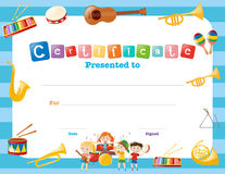Certification template with musical instruments. Illustration royalty free illustration