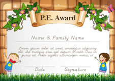 Certification template for physical education subject. Illustration vector illustration