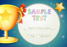 Certification template with stars and trophy. Illustration vector illustration