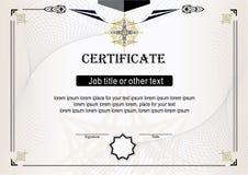 Certificato beige leggero con gli elementi dell'oro e del nero Fotografie Stock Libere da Diritti