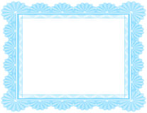 Certificato in bianco decorato in azzurro Immagine Stock Libera da Diritti