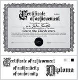 Certificato in bianco e nero mascherina orizzontale Immagine Stock Libera da Diritti