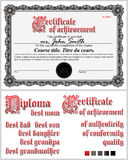 Certificato in bianco e nero mascherina Rabescatura orizzontale Fotografia Stock