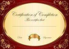 Certificato del modello di completamento Fotografia Stock