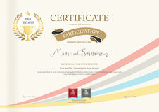 Certificato del modello di partecipazione con l'alloro dorato del premio illustrazione di stock