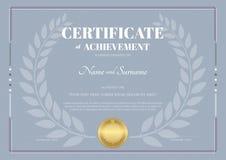 Certificato del modello di risultato con la corona dell'alloro illustrazione di stock