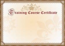 Certificato di addestramento fotografia stock libera da diritti