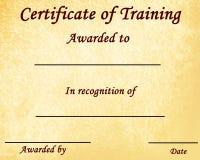 Certificato di addestramento Fotografia Stock