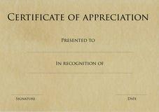 Certificato di apprezzamento Immagini Stock