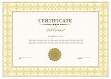 Certificato di beige di vettore Fotografie Stock Libere da Diritti