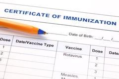 Certificato di immunizzazione Fotografie Stock