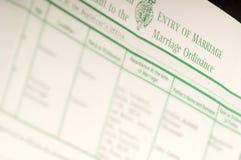 Certificato di matrimonio britannico Fotografia Stock Libera da Diritti