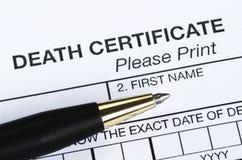 Certificato di morte fotografia stock