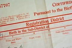 Certificato di nascita Immagini Stock