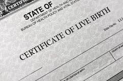Certificato di nascita per Live Baby Born fotografia stock