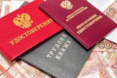 Certificato di pensione, certificato degli impiegati ed annotazione del lavoro immagine stock
