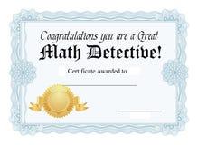 Certificato di per la matematica Fotografia Stock