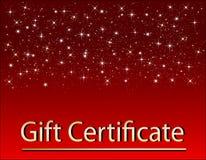 Certificato di regalo rosso di natale illustrazione di stock