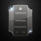 Certificato di vetro sul fondo astratto del metallo Fotografia Stock Libera da Diritti