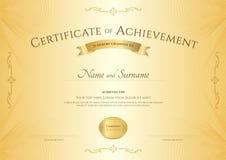 Certificato elegante del modello di risultato sulla rabescatura del abstact Fotografie Stock