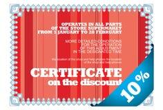 Certificato lineare sullo sconto Fotografia Stock