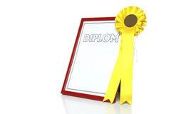 Certificato nero con la rosetta gialla Fotografia Stock