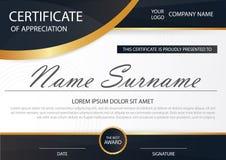 Certificato orizzontale di eleganza con l'illustrazione di vettore, modello bianco del certificato della struttura illustrazione di stock