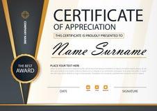 Certificato orizzontale di eleganza nera e dell'oro con l'illustrazione di vettore, modello bianco del certificato della struttur illustrazione di stock