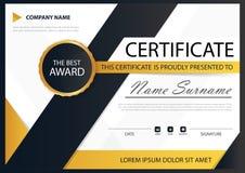 Certificato orizzontale di eleganza nera gialla con l'illustrazione di vettore, modello bianco del certificato della struttura co Immagine Stock