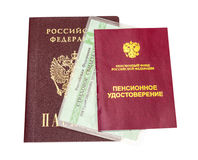 Certificato russo di pensione e certificato di assicurazione Fotografia Stock Libera da Diritti