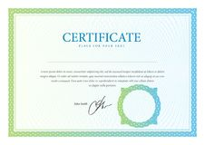 Certificato, valuta e diplomi del modello.