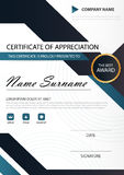 Certificato verticale di eleganza del nero blu con l'illustrazione di vettore, modello bianco del certificato della struttura con illustrazione vettoriale