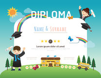 Certifichi il diploma dei bambini, backgroun della disposizione del modello di asilo illustrazione vettoriale