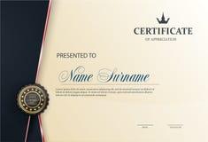 Certifichi il modello con il modello di lusso, il diploma, illustrazione di vettore Immagini Stock