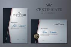 Certifichi il modello con il modello di lusso e moderno, il diploma, illustrazione di vettore Fotografia Stock Libera da Diritti