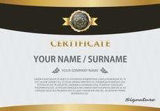 Certifichi il modello con il modello di lusso, il diploma, illustra di vettore Immagini Stock Libere da Diritti